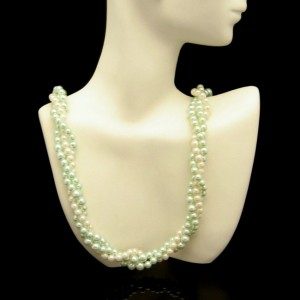 Vintage Faux Pearls Torsade Necklace Mid Century Green White 3 Multi Strand Very Elegant