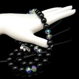Vintage Necklace Mid Century Black Faux Onyx Glass AB Crystals Beads Elegant