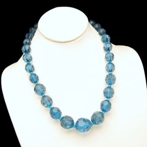 Vintage Blue Lucite Necklace Mid Century Moonglow Faux Crystal Chunky Beads Very Pretty