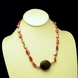 Vintage Necklace Mid Century Dyed Pink Mother of Pearl Glass Beads Large Brown Stone Pendant