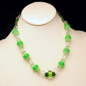 Vintage Necklace Mid Century Green Art Glass Faux Crystal Beads White Stripes Very Unique