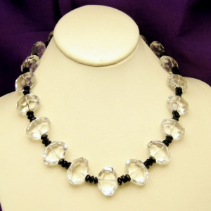 Vintage Glass Beads Necklace Clear Black Large Chunky Artisan Made Unique Style