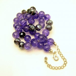 Vintage Necklace Mid Century Purple Crackle Glass AB Crystal Beads Very Pretty Striking Color