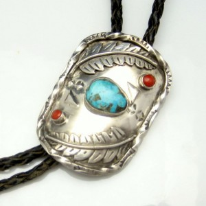 Vintage Necklace Mid Century Sterling Silver Turquoise Coral Large Medallion Bolo Tie Leather