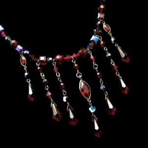 Genuine SWAROVSKI Red Crystal Beads Dangles Necklace Signed Swan Mark Vintage