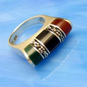 925 Sterling Silver Vintage Ring Inlaid Jade Onyx Carnelian Marcasites