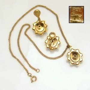 CORO PAT PEND Vintage Rhinestone Necklace Earrings Mid Century Aqua Rare Retro Set Pretty