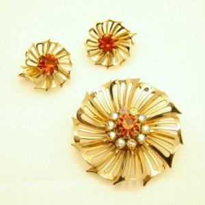 CORO Vintage Brooch Pin Earrings Mid Century Red AB Rhinestones Retro 1950s Jewelry Set