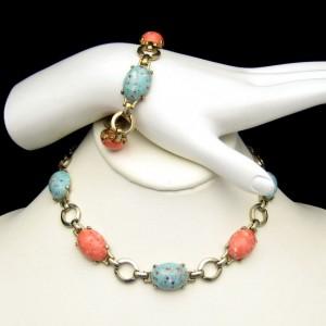 Vintage Necklace Bracelet Set Mid Century Blue Orange Beads Chunky Speckled Bold Colorful
