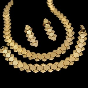 Vintage Necklace Bracelet Earrings Mid Century Hexagon Book Chain Set Gold Plated Links Dangles
