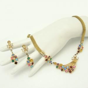 Vintage Rhinestone Necklace Earrings Set Mid Century Retro Mesh Red Blue Purple Pink Yellow