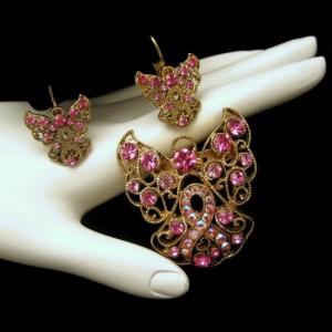 Vintage Filigree Angel Pink AB Rhinestones Brooch Pin Earrings Set Large