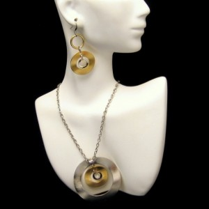 Vintage Bold Modernist Two Tone Curved Circles Necklace Earrings Set