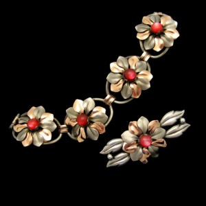 KREISLER Rare Vintage Bracelet Brooch Pin Mid Century Mixed Metals Retro Red Satin Glass
