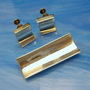 Mexico Sterling Eagle Mid Century Vintage Brooch Pin Earrings Set Modernist