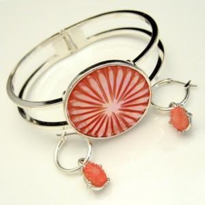 MONET Vintage Bracelet Earrings Mid Century Pink Mother of Pearl Set Carved MOP Hoop Dangles
