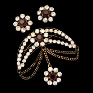 RONCO STERLING Vintage Red Glass Brooch Pin Earrings Mid Century Crescent Swag Dangle Chain