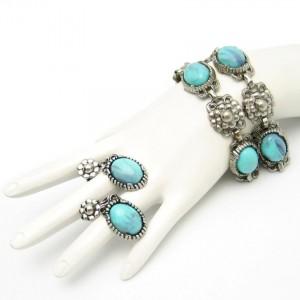 Vintage Faux Turquoise Bracelet Earrings Mid Century Nouveau Style Set Silvertone Large
