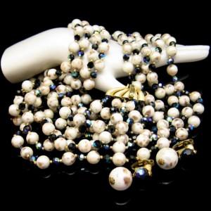 Crown Trifari Mid Century Rare 5 Strand Vintage Necklace Bracelet Earrings Blue AB Crystals