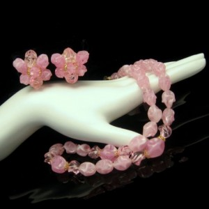 WEST GERMANY Vintage Necklace Earrings Mid Century Pink Beads Set Twisted Acrylic Pretty