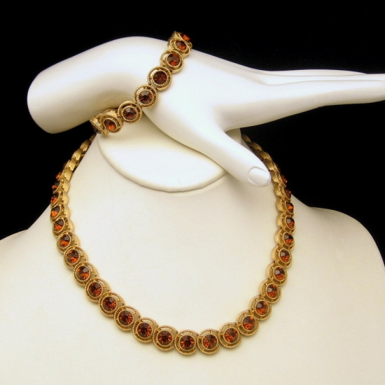 CROWN TRIFARI Goldtone Topaz Rhinestones Necklace Bracelet Set from myclassicjewelry.com