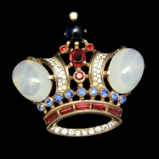 TRIFARI Large Vintage Crown Brooch Pin Jelly Rhinestones Red Blue Green from myclassicjewelry.com