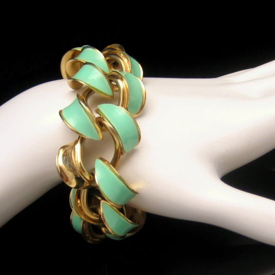 Gorgeous Vintage Goldtone Aqua Green Enamel Links Bracelet from myclassicjewelry.com