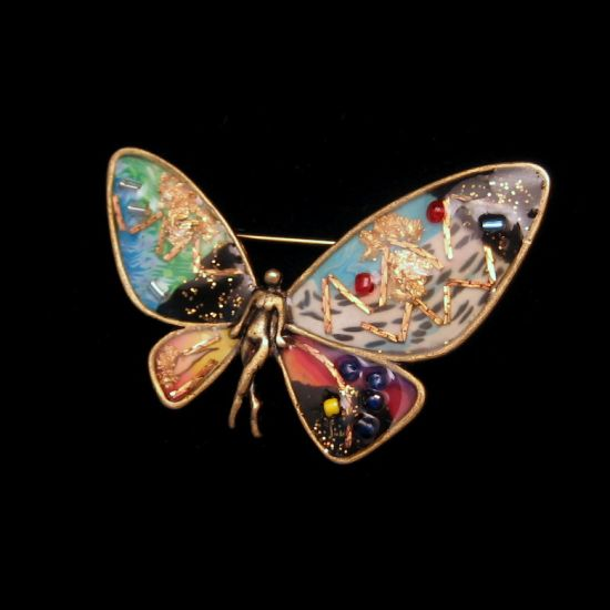 Gorgeous Vintage Nude Fairy Confetti Butterfly Wings Vintage Brooch from myclassicjewelry.com
