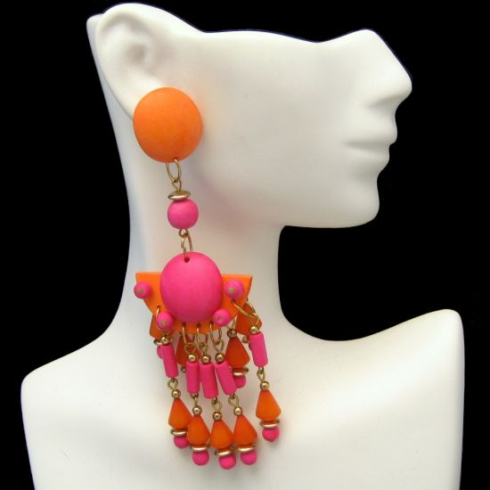 Huge Colorful Vintage Orange Pink Wood Beads Dangle Post Earrings from myclassicjewelry.com