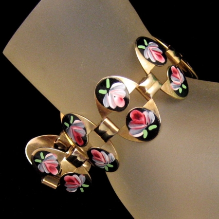 Beautiful Vintage Black Enamel Red Green Flowers Oval Links Bracelet from myclassicjewelry.com