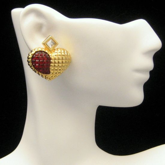 Large Vintage Hearts Red Waffle Crystal Rhinestone Earrings from myclassicjewelry.com