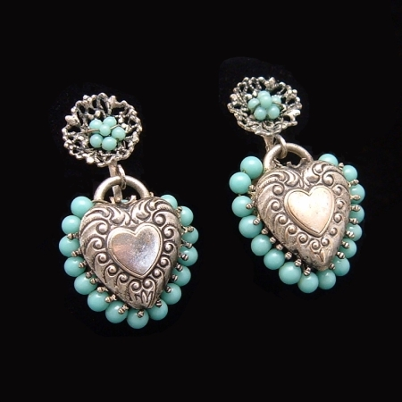 Vintage Victorian Puffy Hearts Repousse Charms Earrings from myclassicjewelry.com