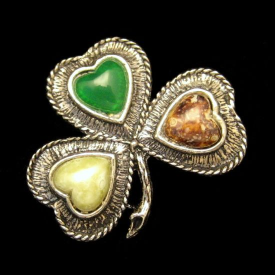 Vintage Faux Agate Art Glass Hearts Clover Brooch from myclassicjewelry.com