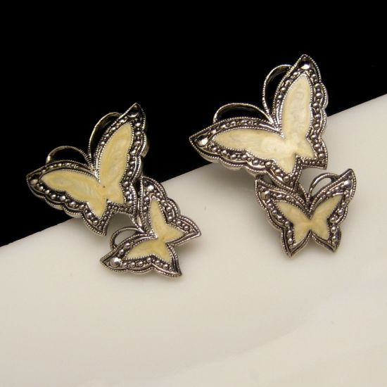 Vintage Large Yellow Enamel Double Butterfly Post Earrings from myclassicjewelry.com