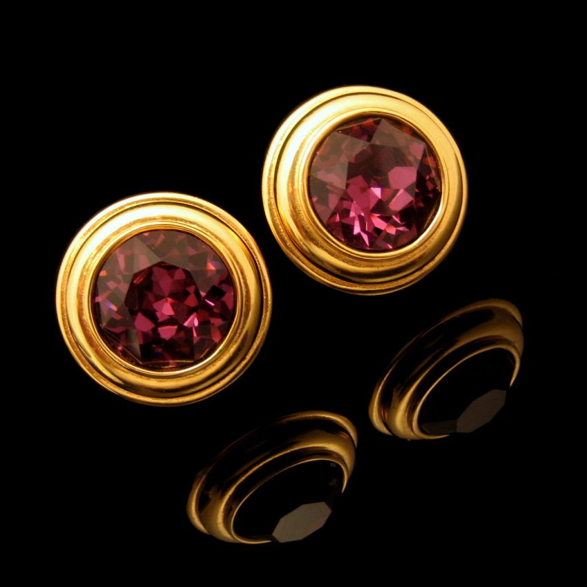 Monet Gold Plated Large Circles Purple Gl Clip Earrings