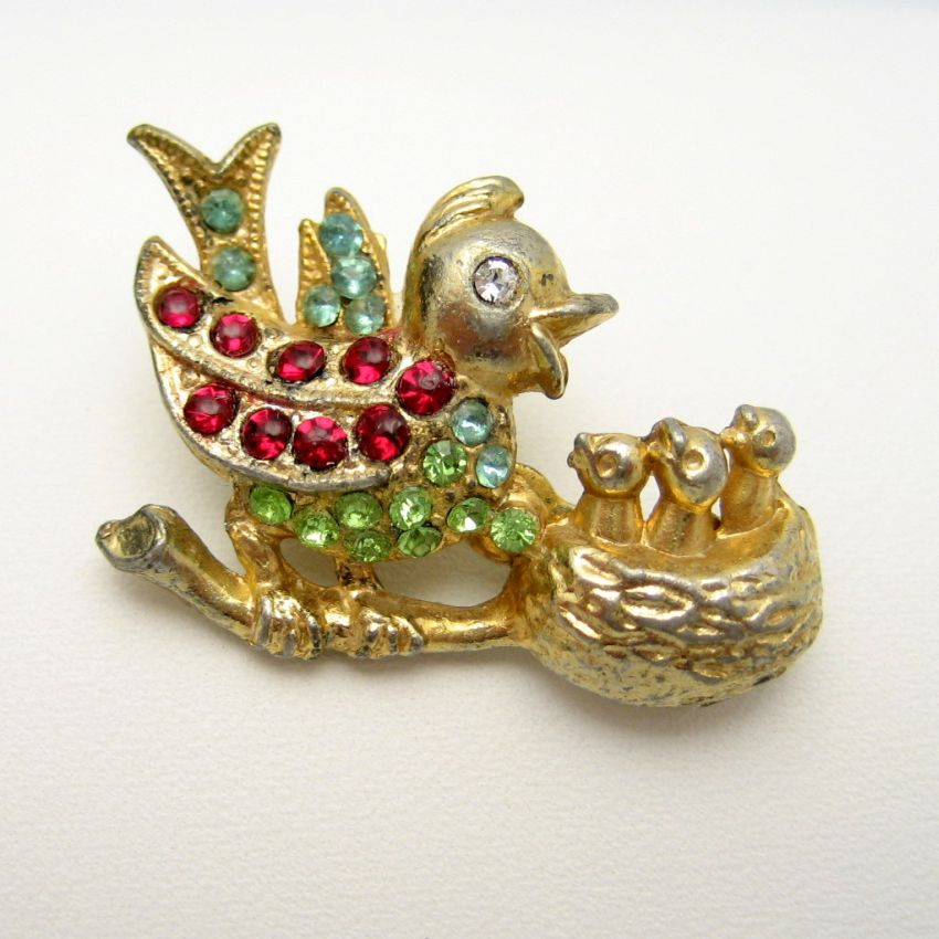 Vintage Mama Bird 3 Babies Colored Rhinestones Brooch