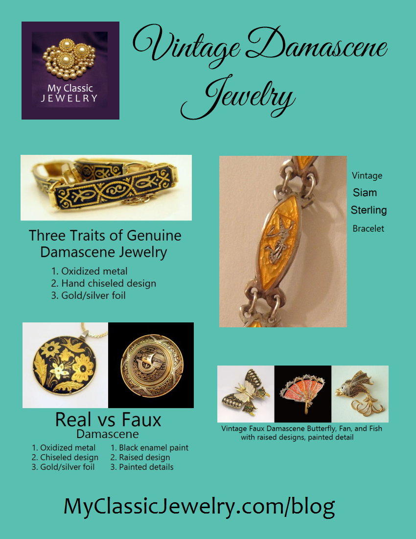 Vintage Damascene Jewelry Three Traits Separate the Real from the